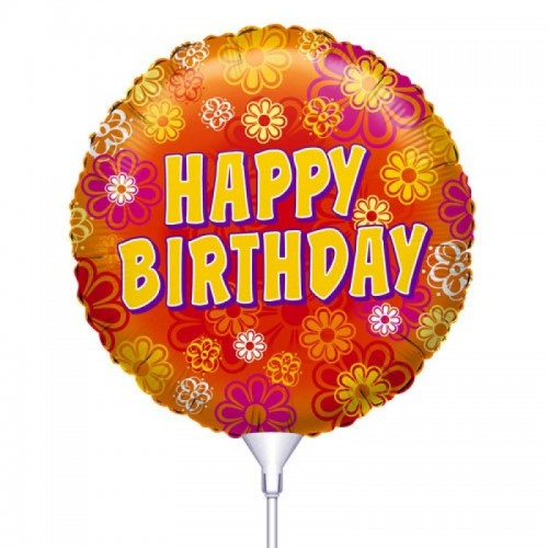 Folie ballon : Happy Birthday - Bloemen
