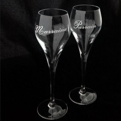 Champagne glas Parrain - Marraine