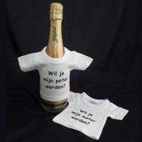 Flessen T-shirt: Wil je mijn meter / peter worden?