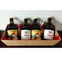 Duvel / La Chouffe flesjes met bier stickers - Voor Peter