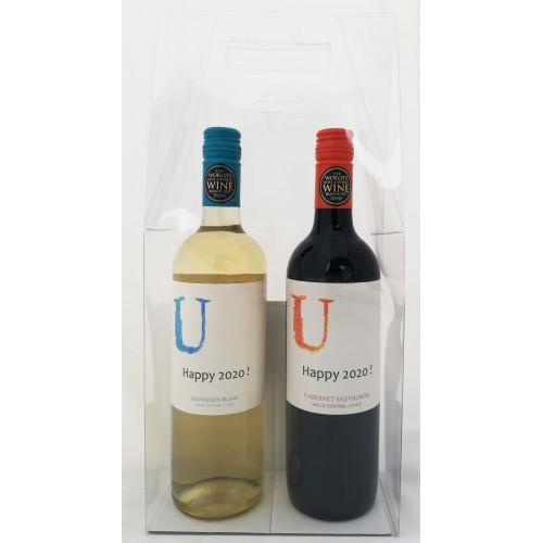 Wijnflessen met gepersonaliseerd etiket - Happy 2020 !