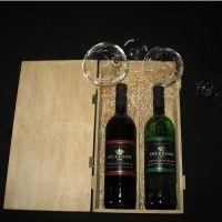 'Breekbare' houten kist (2 flessen)
