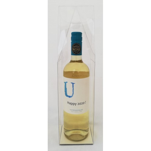 Wijnfles met gepersonaliseerd etiket - Happy 2020 !