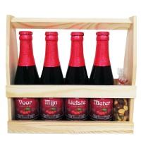 Kriek bierpakket : Voor mijn liefste meter (4 flesjes) - Houten kratje