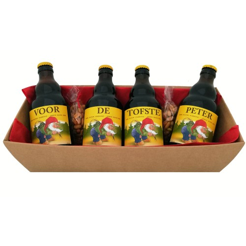 La Chouffe flesjes met bier stickers - Voor de Tofste Peter