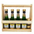 Mousserende Wijn Flesjes - Van Harte - in houten kratje