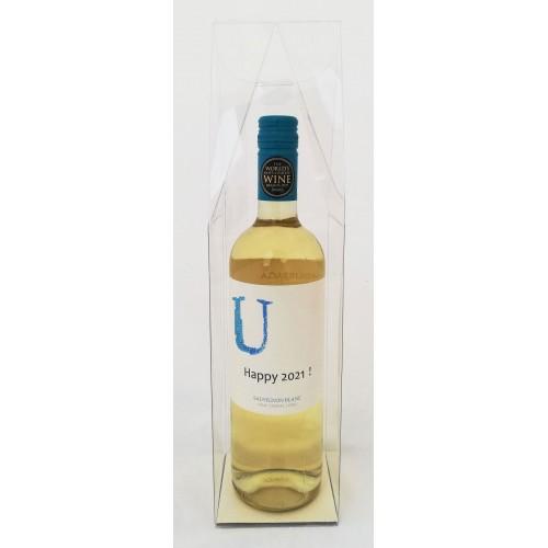 Witte wijn met gepersonaliseerd etiket - Happy 2021 !